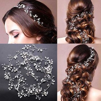 CREYONJ Luxury Crystal Handmade Long Bridal Headband Headpiece Pearl Hairbands Wedding Hair Accessories Bride Head Chain SL