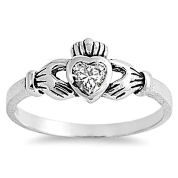 Sterling Silver Clear CZ Simple Claddagh Ring size 1-9