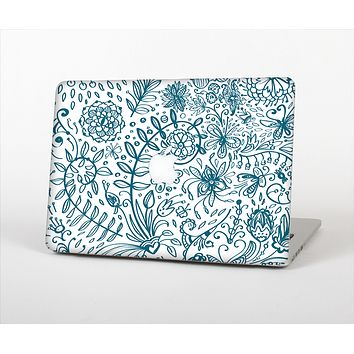 The Subtle Blue Sketched Lace Pattern V21 Skin Set for the Apple MacBook Air 11""