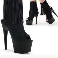 Suede Fringe Stripper Ankle Boot   Sassy Assy Shoes