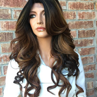 """Mia Dark brown blond lace front hair wig 22"""""""