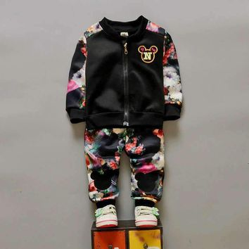 Chidren Kids Boys Girls Clothing Set Autumn Spring 2 Piece Sets Zipper Coat + Flower Pants Suits Baby Boys Clothes Mickey 2017