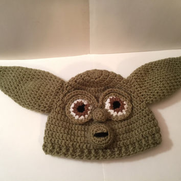 Yoda with Face from Star Wars Hat/ Beanie w/ Diaper Cover - Any Size