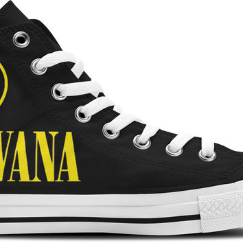 Nirvana Black Hi-Top Unisex Trainers