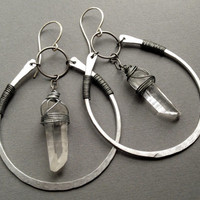 Hammered Silver Hoop Earrings with Raw Quartz Crystal or Raw Amethyst Crystal Points