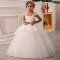 Tulle Lace Long Princess White Flower Girl Dresses