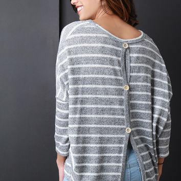 Buttoned Back Stripe Knitted Sweater in Mocha