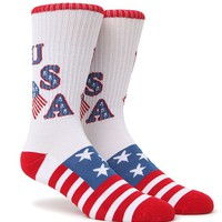 """New"" Socks U-S-A Crew Socks - Mens Socks - White - One"