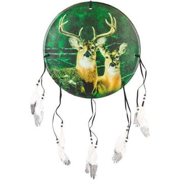 PEAPGQ9 Deer Buck & Doe Profile Dream Catcher