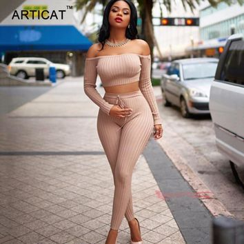 Articat Off Shoulder Sexy Two Piece Jumpsuit Women Romper Autumn Slash Nech Long Sleeve Crop Top Party Bodycon Playsuit Overalls
