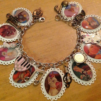 Disney's Aristocats Colorful Altered Art Charm Bracelet