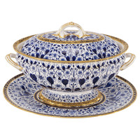 "Derby, Cobalt Blue ""Derby Lily"" Soup Tureen with Matching under Plate or Stand"