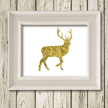 Christmas Deer Gold White Print Printable Instant Download Poster Wall Art Home Decor SF061