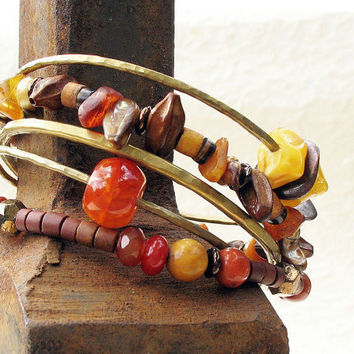 Gypsy Bangle Stack Bracelets Earthy Yellow Amber Orange Brown Hammered Bronze Metal Beaded Set of Five