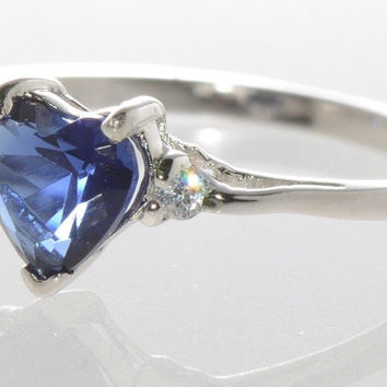 Heart CZ Ring .925 Sterling Silver Blue Sapphire Cubic Zirconia