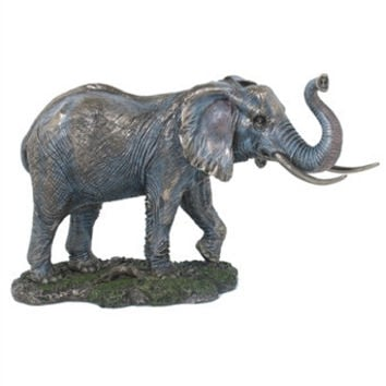 Elephant with Raised Trunk Bronze Statue - 8338
