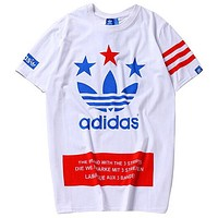 ADIDAS 2019 new men's clover printed short-sleeved shirt white