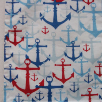 Travel Pouch Neck Wallet Cross Body Purse Passport Holder Nautical Anchors Red White Blue