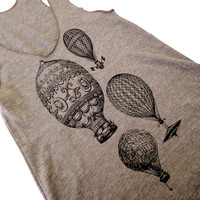 Women's Tank Top - Vintage Hot Air Balloons on a American Apparel Tri-Blend Tank -( Available in sizes S, M, L)