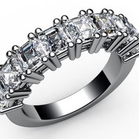 Diamond ring 8th Anniversary gift 8 Diamonds 2.50 ct 18K White gold marriage forever