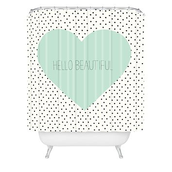 Allyson Johnson Hello Beautiful Heart Shower Curtain