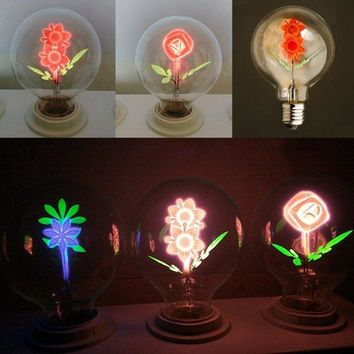 E27 3W Warm White Retro Edison Flower Moon Filament LED Light Bulb for Christmas Wedding AC240V