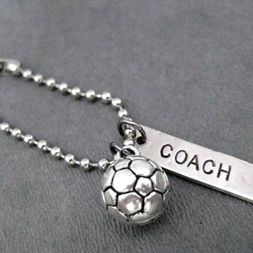 Team Coach SPORT Key Chain / Bag Tag - 4 inch Stainless Ball Chain or Traditional Round Key Ring - Football - Tennis - Soccer - Dance - Gym