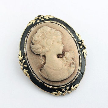 Women's Portrait Brooch Pin Vintage Cameo Elegant Brooch Pin Antique Wedding SM6