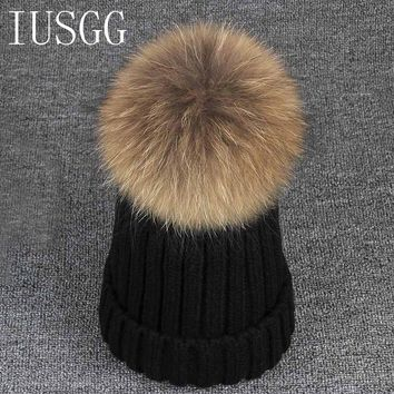 Winter Hat for Women Men Mink and Fox Fur Ball Cap Pom Poms Girl's Wool Hat Knitted Cotton Beanies Cap Brand New Thick Female
