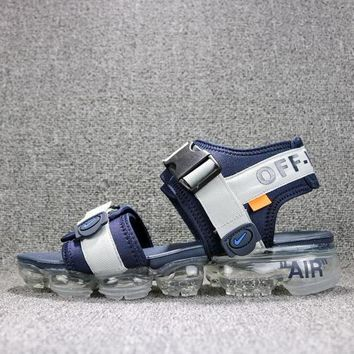 Off White x Nike Air VaporMax Sandals Blue White Slides 850588-003 Flip Flops - Best Online Sale