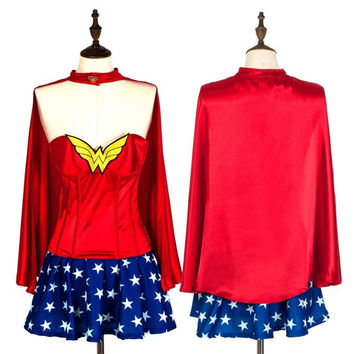 Halloween Cosplay Costume Ladies Fashion Wonder Woman Overbust Corset with Cloak = 1958032388