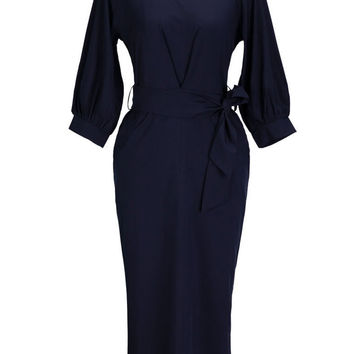 Blue Lantern Sleeve Shirred Chiffon Midi Dress with Belt