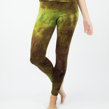 Brown Tie Dye High Waisted Bamboo Leggings