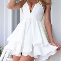 White V-neck Straps Irregular Swing Mini Chiffon Dress