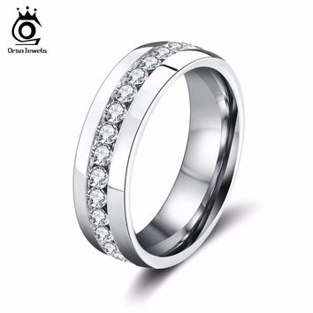 ORSA JEWELS 2017 New Fashion Stainless Steel Rings with Clear Rhinestone,Eternity Steel Rings for Men and Women Wedding OTR27
