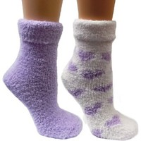 Kissables Women's Chenille 2 Pair Fluffy Socks Set w/ Infused Lavender