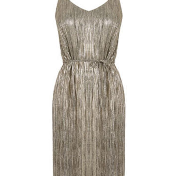 METALLIC SLIP DRESS - GOLD