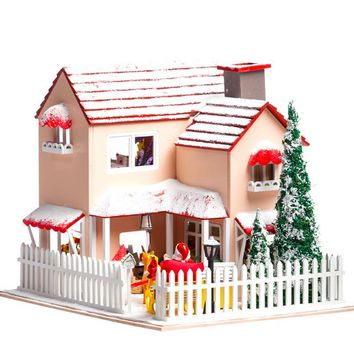 Hoomeda DIY Wood Dollhouse Miniature With LED Furniture Cover Christmas Eve