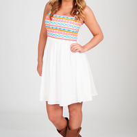 Place In The Sun Dress: White/Multi