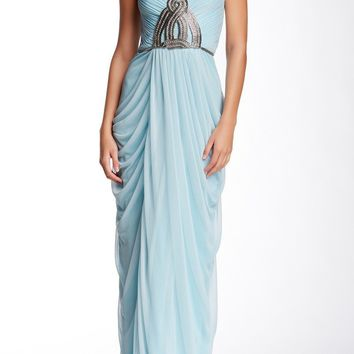 JS Collections - 863597 Strapless Knot Ornate Draped Sheath Gown