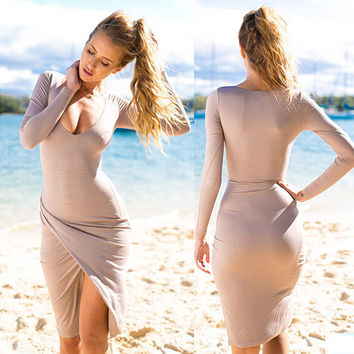 Long Sleeve Midi Slit Dress