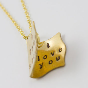 Personalized Hand Stamped Gold Storybook Necklace - I Love You, Gold Jewelry, Book Lover