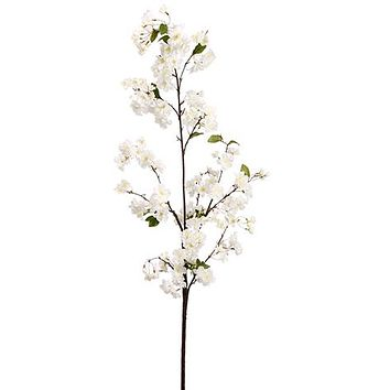"""White Artificial Cherry Blossom Branch - 65"""" Tall"""