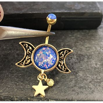 Double Moon and Star Blue Opal Belly Button Ring