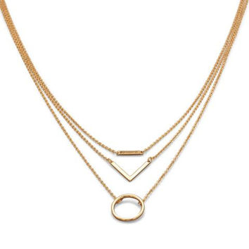 Triple Strand Gold or Silver Tone Geometric Fashion Necklace