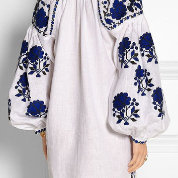 20% OFF vyshyvanka tunic dress by Fanm Mon white with blue tunic floral details linen traditional folklore embroidery XS-XXL
