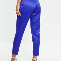 Missguided - Blue Satin Tie Waist Cigarette Pants