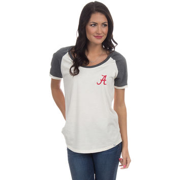 University of Alabama Vintage Tailgate Tee in White & Heathered Grey by Lauren James - FINAL SALE