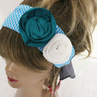 Rose Hair band, Hippie Hair band, Handmade headband, Ethnic fabric headband, Turquoise blue white roses hair band, Plaid headband