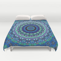 Blue Mandala Kaleidoscope Abstract Duvet Cover by pugmom4